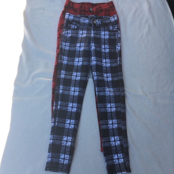 Justice Other - Justice Plaid Red and Black Girls Pants